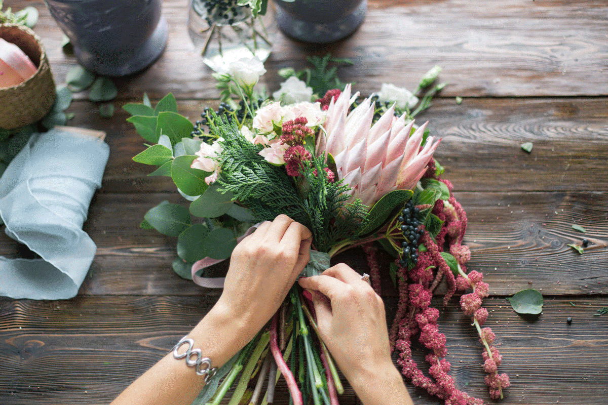 Crafting a posy with love and care